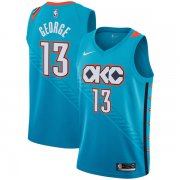 Wholesale Cheap Nike NBA Oklahoma City Thunder #13 Paul George Jersey 2018-19 New Season City Edition Blue Jersey