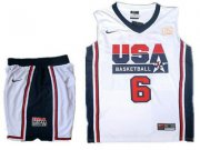 Wholesale Cheap USA Basketball Retro 1992 Olympic Dream Team 6 LeBron James White Basketball Suit