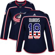 Wholesale Cheap Adidas Blue Jackets #18 Pierre-Luc Dubois Navy Blue Home Authentic USA Flag Women's Stitched NHL Jersey