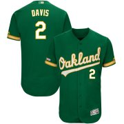 Wholesale Cheap Men's Oakland Athletics #2 Khris Davis Majestic Kelly Green Alternate Flex Base Authentic Collection Player Jersey