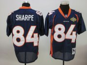 Wholesale Cheap Mitchell & Ness Broncos #84 Shannon Sharpe Blue With Super Bowl Patch Stitched NFL Jersey