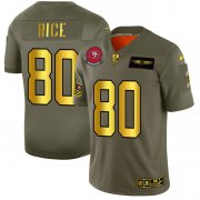 Wholesale Cheap San Francisco 49ers #80 Jerry Rice NFL Men's Nike Olive Gold 2019 Salute to Service Limited Jersey