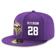Wholesale Cheap Minnesota Vikings #28 Adrian Peterson Snapback Cap NFL Player Purple with White Number Stitched Hat