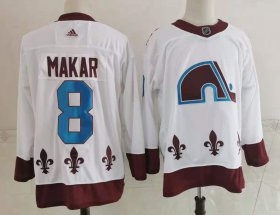 Wholesale Cheap Men\'s Colorado Avalanche #8 Cale Makar White 2021 Retro Stitched NHL Jersey
