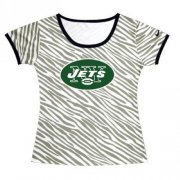 Wholesale Cheap Women's New York Jets Sideline Legend Authentic Logo Zebra Stripes T-Shirt