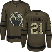 Wholesale Cheap Adidas Oilers #21 Andrew Ference Green Salute to Service Stitched NHL Jersey