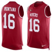 Wholesale Cheap Nike 49ers #16 Joe Montana Red Team Color Men's Stitched NFL Limited Tank Top Jersey