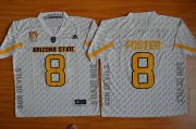 Wholesale Cheap Men's Arizona State Sun Devils #8 D.J. Foster White Desert Ice 2015 College Football Jersey