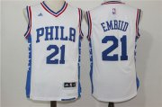 Wholesale Cheap Men's Philadelphia 76ers #21 Joel Embiid NEW White Stitched NBA Adidas Revolution 30 Swingman Jersey