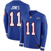 Wholesale Cheap Nike Bills #11 Zay Jones Royal Blue Team Color Men's Stitched NFL Limited Therma Long Sleeve Jersey