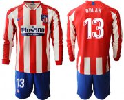 Wholesale Atletico Madrid #13 Oblak Home Long Sleeves Soccer Club Jersey