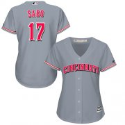 Wholesale Cheap Reds #17 Chris Sabo Grey Road Women's Stitched MLB Jersey