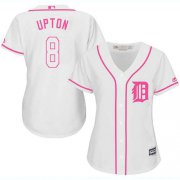 Wholesale Cheap Tigers #8 Justin Upton White/Pink Fashion Women's Stitched MLB Jersey