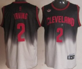 Wholesale Cheap Cleveland Cavaliers #2 Kyrie Irving Black/Gray Fadeaway Fashion Jersey