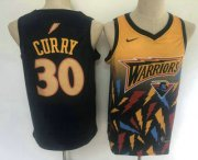 Wholesale Cheap Men's Golden State Warriors #30 Stephen Curry Black with Yellow Salute Nike Swingman Stitched NBA Jersey