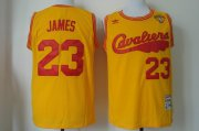 Wholesale Cheap Men's Cleveland Cavaliers #23 LeBron James 2017 The NBA Finals Patch 2009 Yellow Hardwood Classics Soul Swingman Throwback Jersey