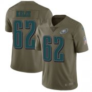Wholesale Cheap Nike Eagles #62 Jason Kelce Olive Youth Stitched NFL Limited 2017 Salute to Service Jersey