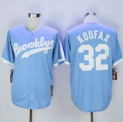 Wholesale Cheap Mitchell And Ness Dodgers #32 Sandy Koufax Light Blue Throwback Stitched MLB Jersey