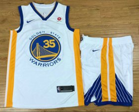 Wholesale Cheap Men\'s Golden State Warriors #35 Kevin Durant White 2017-2018 Nike Swingman Stitched NBA Jersey With Shorts