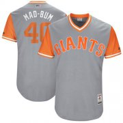 "Wholesale Cheap Giants #40 Madison Bumgarner Gray ""Mad-Bum"" Players Weekend Authentic Stitched MLB Jersey"