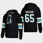 Wholesale Cheap San Jose Sharks #65 Erik Karlsson Black adidas Lace-Up Pullover Hoodie