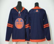 Wholesale Cheap Youth Edmonton Oilers Blank Navy Blue 50th Anniversary Adidas Stitched NHL Jersey