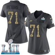 Wholesale Cheap Nike Eagles #71 Jason Peters Black Super Bowl LII Women's Stitched NFL Limited 2016 Salute to Service Jersey