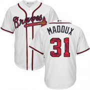 Wholesale Cheap Braves #31 Greg Maddux White Team Logo Fashion Stitched MLB Jersey