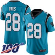 Wholesale Cheap Nike Panthers #28 Mike Davis Blue Men's Stitched NFL Limited Rush 100th Season Jersey