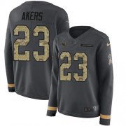 Wholesale Cheap Nike Rams #23 Cam Akers Anthracite Salute to Service Women's Stitched NFL Limited Therma Long Sleeve Jersey