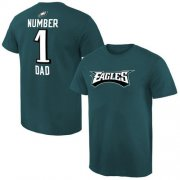 Wholesale Cheap Men's Philadelphia Eagles Pro Line College Number 1 Dad T-Shirt Green