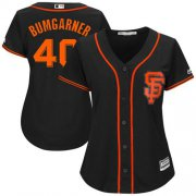 Wholesale Cheap Giants #40 Madison Bumgarner Black Women's Alternate Stitched MLB Jersey