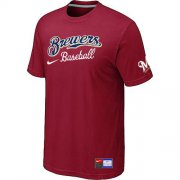 Wholesale Cheap Milwaukee Brewers Nike Short Sleeve Practice MLB T-Shirt Red