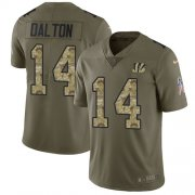 Wholesale Cheap Nike Bengals #14 Andy Dalton Olive/Camo Youth Stitched NFL Limited 2017 Salute to Service Jersey