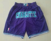 Wholesale Cheap Men's Charlotte Hornets Purple Just Don Shorts Swingman Shorts