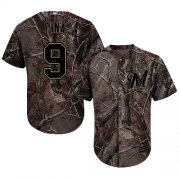 Wholesale Cheap Brewers #9 Manny Pina Camo Realtree Collection Cool Base Stitched MLB Jersey