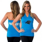 Wholesale Cheap Women's All Sports Couture Carolina Panthers Blown Coverage Halter Top