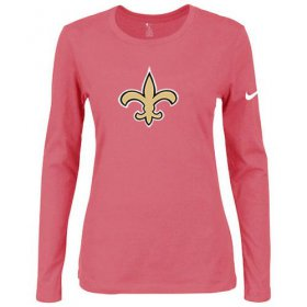 Wholesale Cheap Women\'s Nike New Orleans Saints Of The City Long Sleeve Tri-Blend NFL T-Shirt Pink