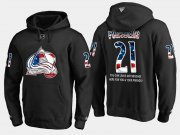 Wholesale Cheap Avalanche #21 Peter Forsberg NHL Banner Wave Usa Flag Black Hoodie