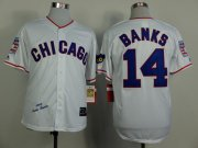 Wholesale Cheap Mitchell And Ness 1968 Cubs #14 Ernie Banks White Throwback Stitched MLB Jersey