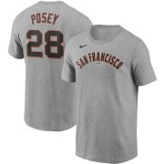 Wholesale Cheap San Francisco Giants #28 Buster Posey Nike Name & Number T-Shirt Gray