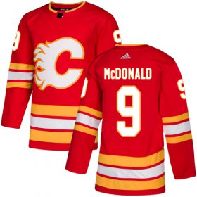 Wholesale Cheap Adidas Flames #9 Lanny McDonald Red Alternate Authentic Stitched NHL Jersey