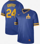 Wholesale Cheap Nike Mariners #24 Ken Griffey Royal Authentic Cooperstown Collection Stitched MLB Jersey