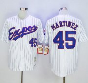 Wholesale Cheap Mitchell And Ness 1982 Expos #45 Pedro Martinez White(Black Strip) Throwback Stitched MLB Jersey