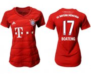 Wholesale Cheap Women's Bayern Munchen #17 Boateng Home Soccer Club Jersey