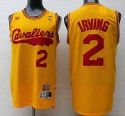 Wholesale Cheap Men's Cleveland Cavaliers #2 Kyrie Irving 2009 Yellow Hardwood Classics Soul Swingman Throwback Jersey