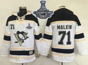 Wholesale Cheap Penguins #71 Evgeni Malkin White Sawyer Hooded Sweatshirt 2017 Stanley Cup Finals Champions Stitched NHL Jersey