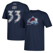 Wholesale Cheap Colorado Avalanche #33 Patrick Roy CCM Retired Player Name & Number T-Shirt Navy