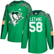 Wholesale Cheap Adidas Penguins #58 Kris Letang adidas Green St. Patrick's Day Authentic Practice Stitched NHL Jersey