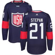 Wholesale Cheap Team USA #21 Derek Stepan Navy Blue 2016 World Cup Stitched Youth NHL Jersey